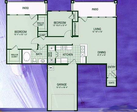 1,258 sq. ft. B2 Crystal Bay floor plan