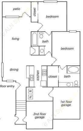 1,058 sq. ft. B2 w/ attached garage floor plan