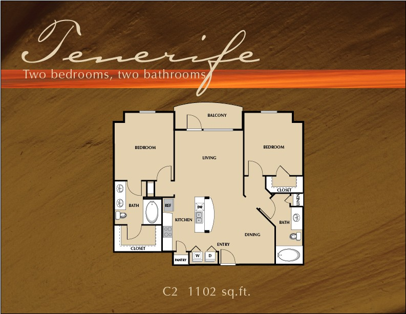 1,102 sq. ft. B2 floor plan