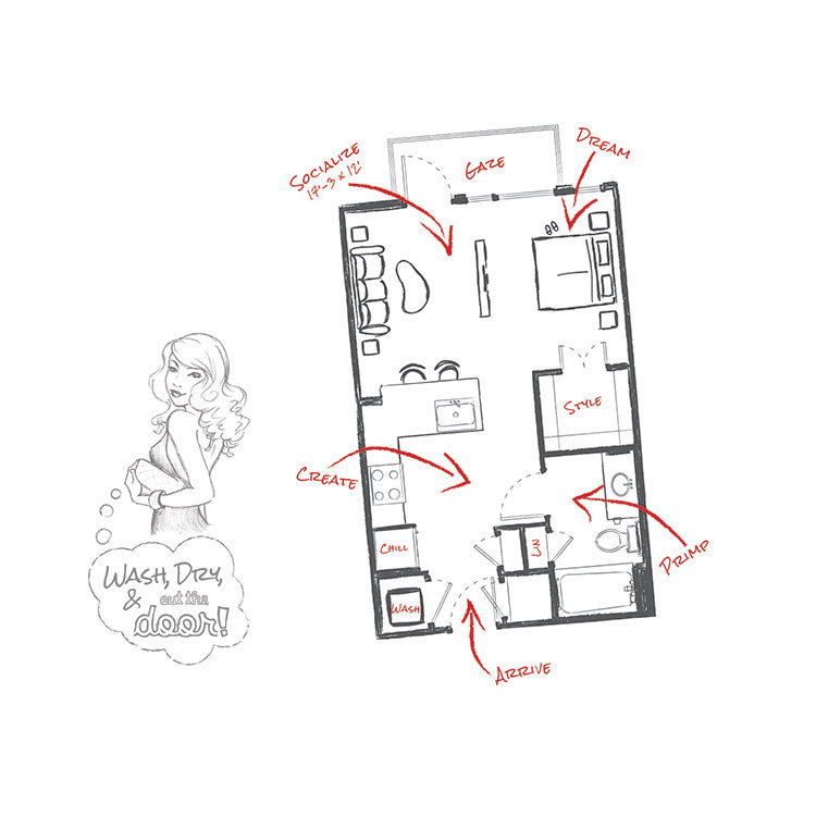 504 sq. ft. E1 floor plan