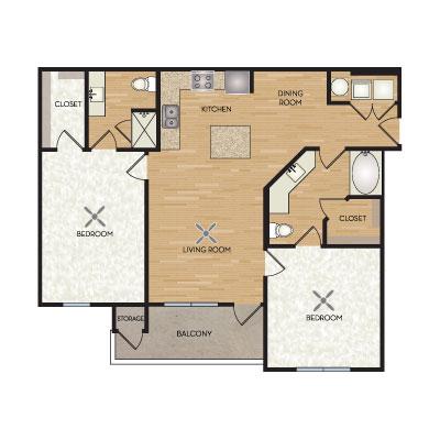 1,100 sq. ft. Rockefeller floor plan