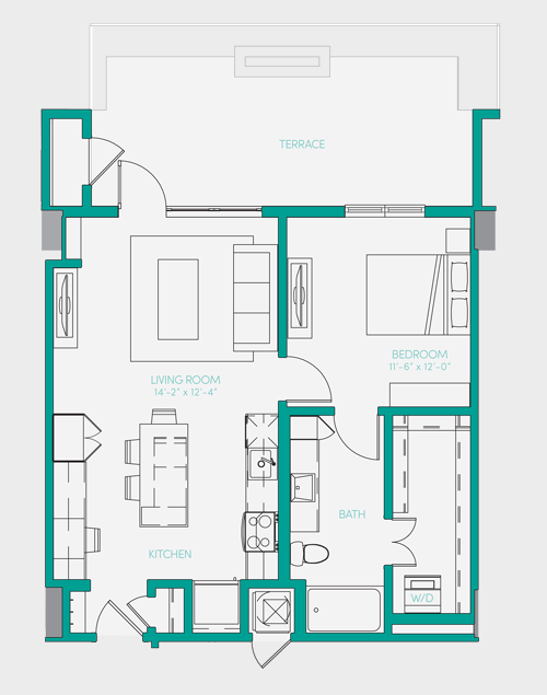 729 sq. ft. A1.13 floor plan