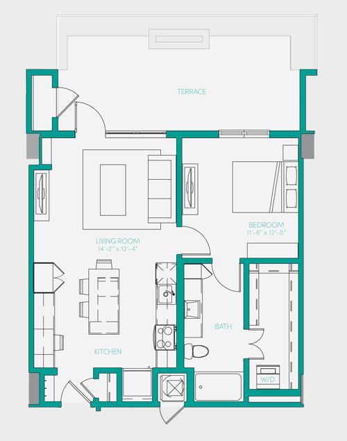 729 sq. ft. A1.13 floor plan