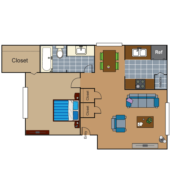 752 sq. ft. AD2 floor plan