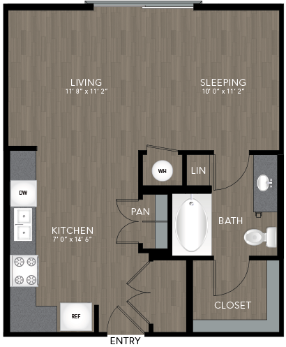 592 sq. ft. Sylvan floor plan