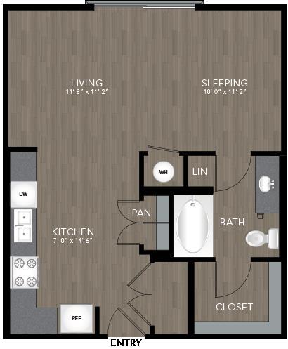 592 sq. ft. Sylvan floor plan