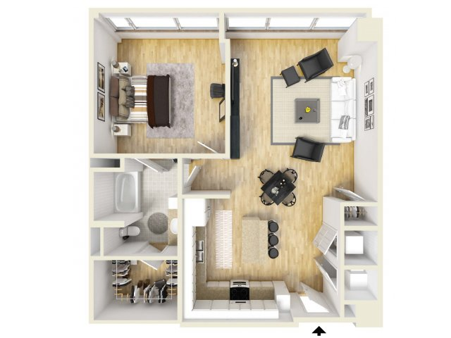 921 sq. ft. Pacific floor plan
