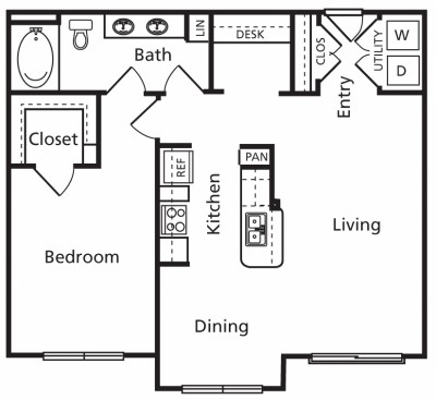 864 sq. ft. B2 floor plan