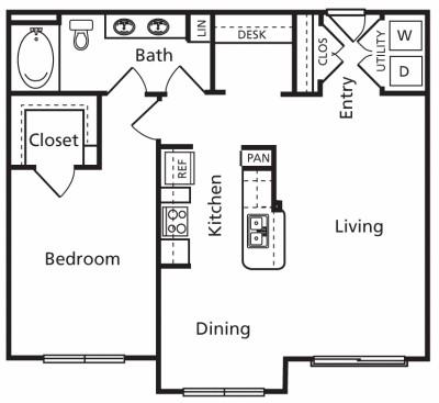 864 sq. ft. B2 floor plan