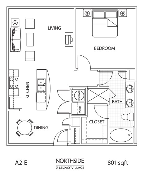 801 sq. ft. to 836 sq. ft. A2E floor plan
