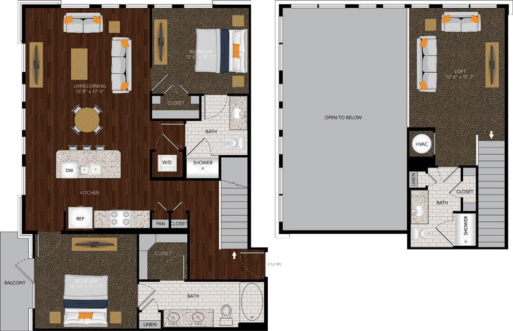 1,498 sq. ft. M5A/M5B floor plan