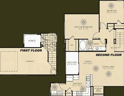 1,075 sq. ft. B2 - Gauguin floor plan