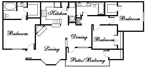 1,186 sq. ft. Livingston floor plan