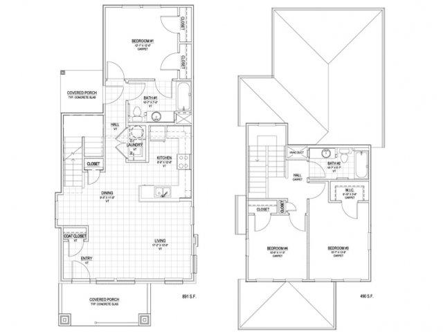 1,381 sq. ft. C1 60% floor plan