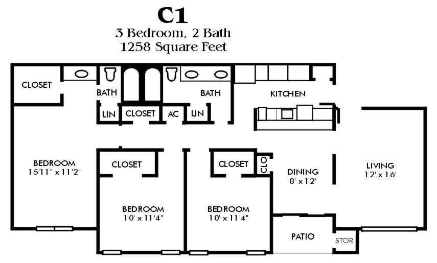 1,253 sq. ft. to 1,258 sq. ft. C1/Mkt floor plan