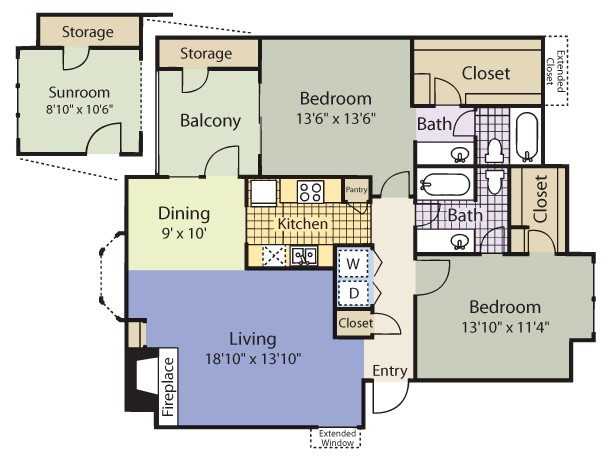1,246 sq. ft. Hanover/Terrace floor plan