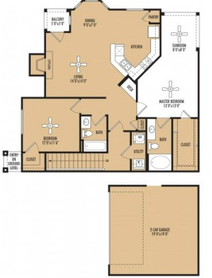 1,326 sq. ft. Tempo w/Garage floor plan