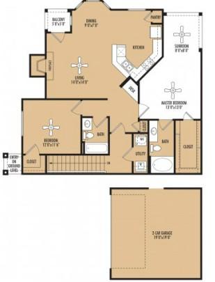 1,326 sq. ft. floor plan
