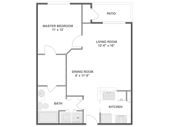 694 sq. ft. floor plan