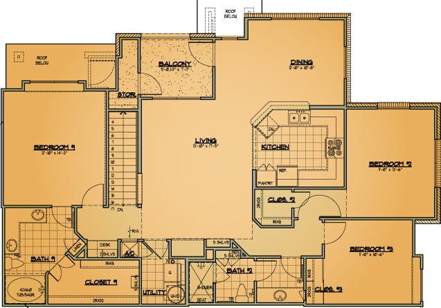 1,583 sq. ft. C2 floor plan