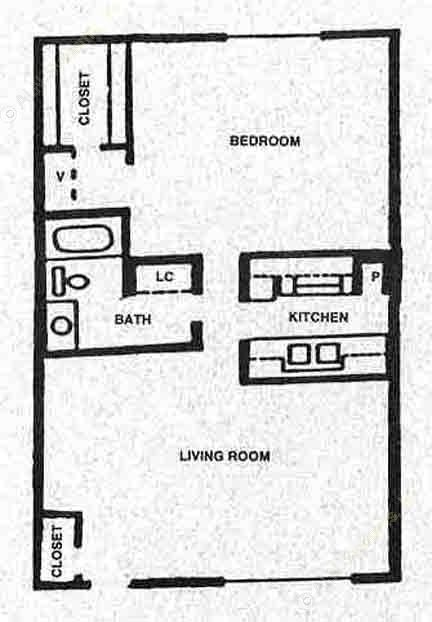 662 sq. ft. A floor plan