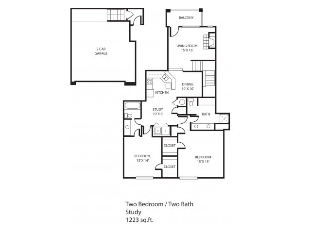 1,223 sq. ft. Addison floor plan