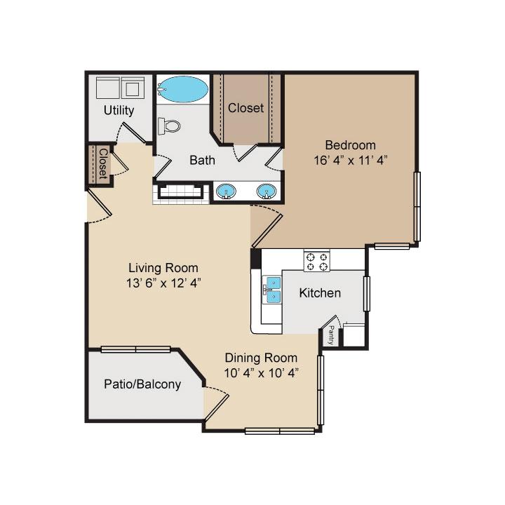 832 sq. ft. A5/A5F floor plan