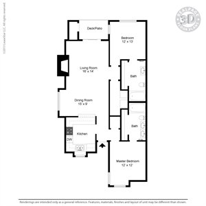 1,006 sq. ft. C4 floor plan