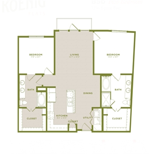 1,256 sq. ft. B5b floor plan