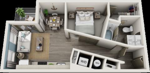 571 sq. ft. A0 floor plan