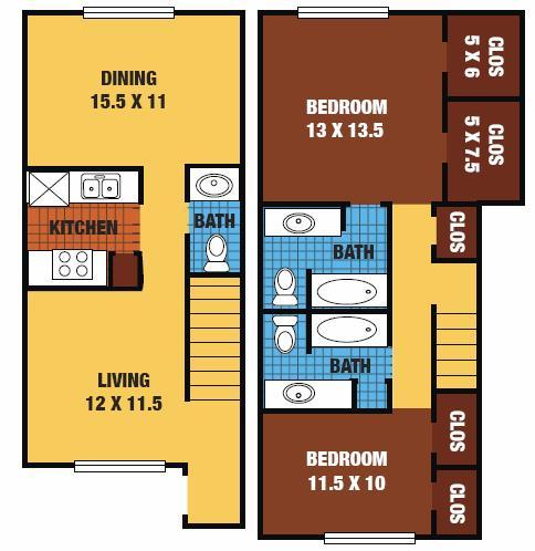 1,120 sq. ft. 60% floor plan