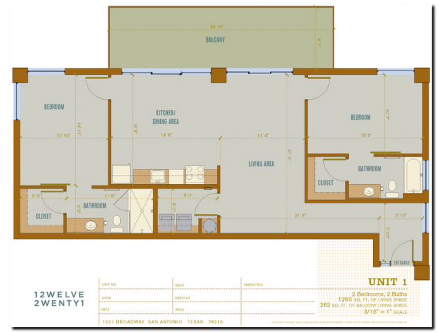 1,286 sq. ft. 2B1 floor plan