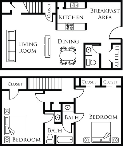 1,188 sq. ft. 21C floor plan