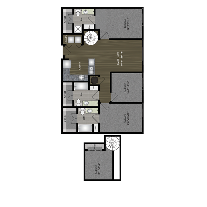 1,331 sq. ft. Backyard Loft floor plan
