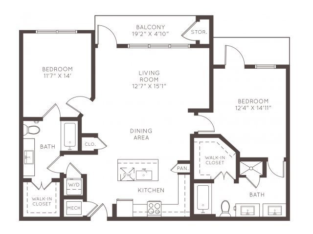 1,206 sq. ft. B2D floor plan