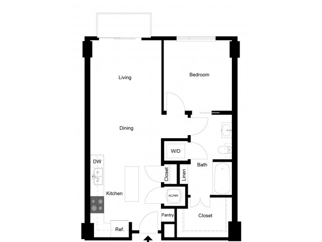 708 sq. ft. 1C2 floor plan