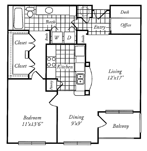 875 sq. ft. A floor plan