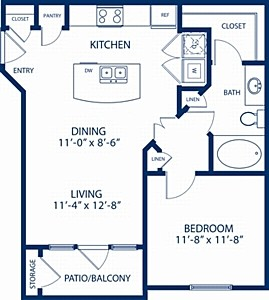 661 sq. ft. Aspen floor plan