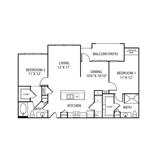 1,154 sq. ft. B3-D floor plan