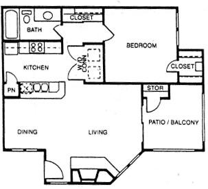 742 sq. ft. E floor plan