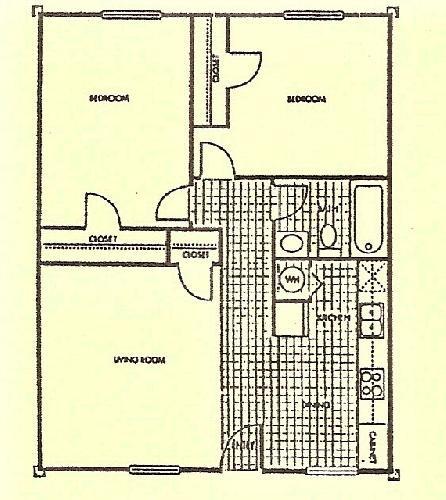 732 sq. ft. Oak floor plan