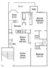 1,227 sq. ft. Plan B floor plan