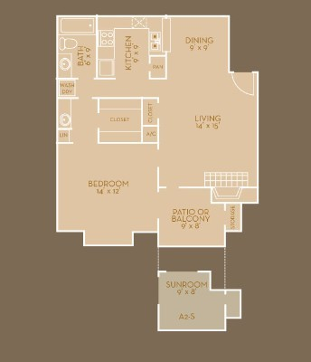 730 sq. ft. A3 floor plan