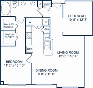 1,002 sq. ft. Oxford floor plan