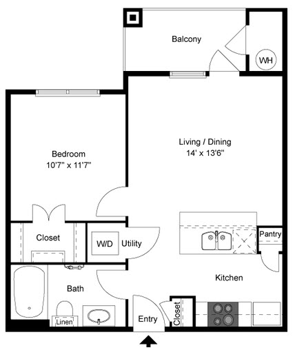 582 sq. ft. A1 floor plan