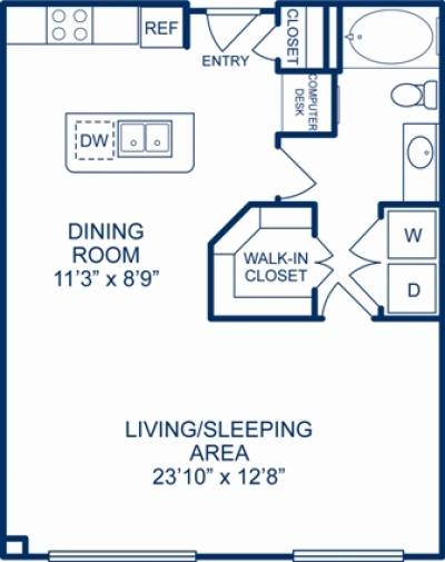 755 sq. ft. CHICAGO floor plan