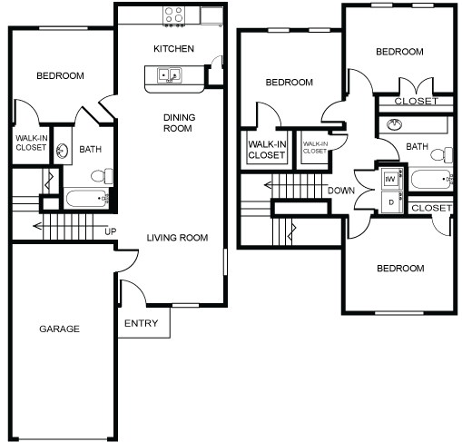 1,303 sq. ft. 50% floor plan