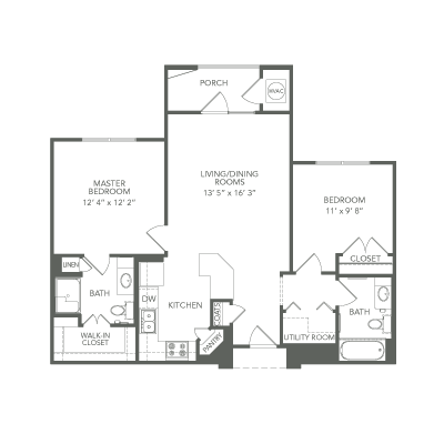 925 sq. ft. 30% Aspire floor plan
