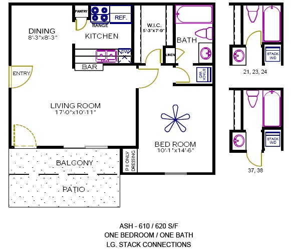 610 sq. ft. to 620 sq. ft. Ash floor plan