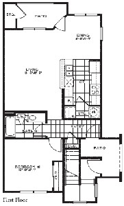 750 sq. ft. 60% floor plan